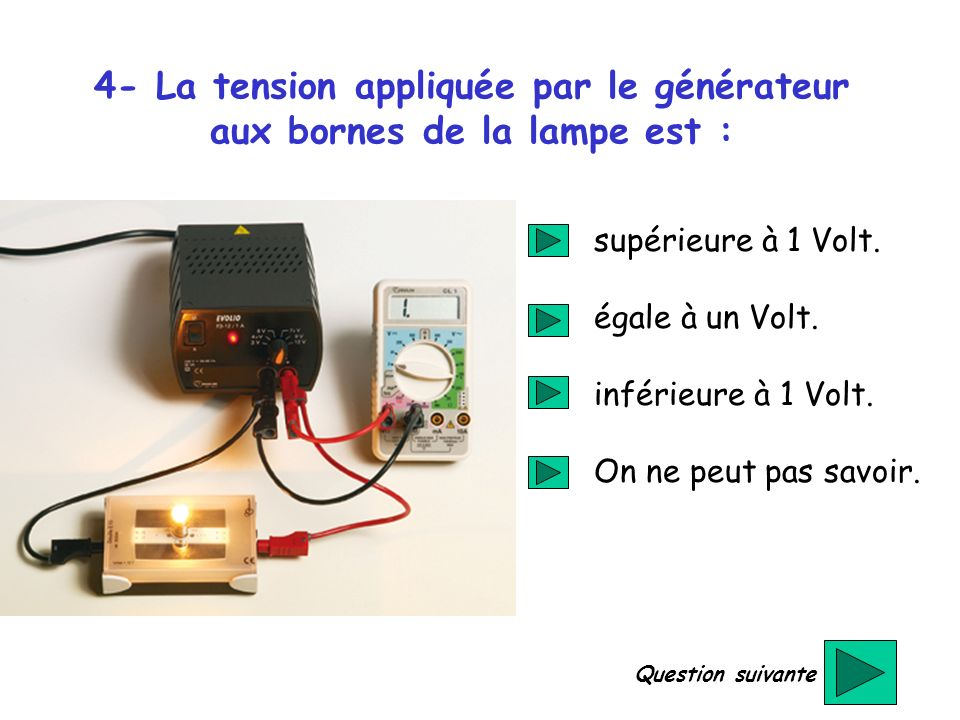 4- La tension appliquée par le générateur aux bornes de la lampe est :