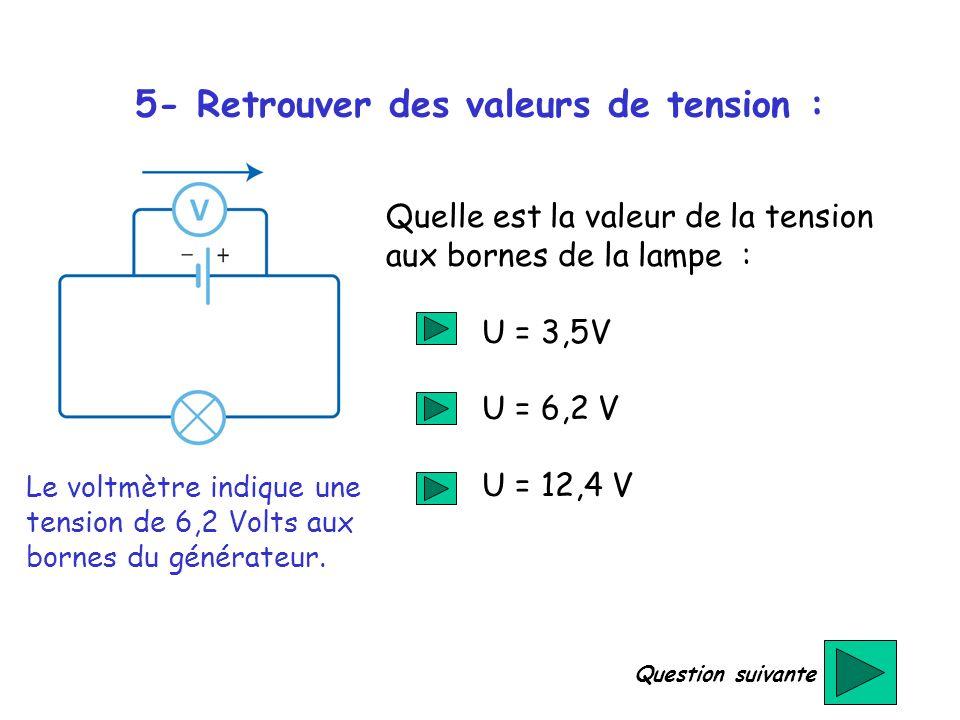 5- Retrouver des valeurs de tension :