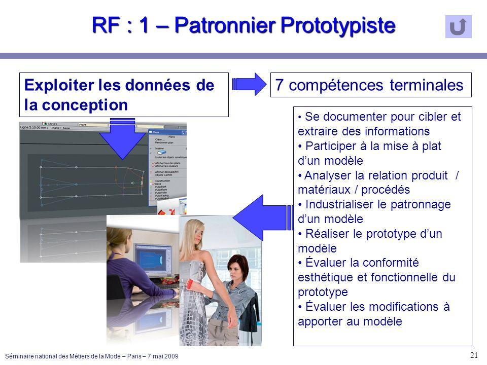RF : 1 – Patronnier Prototypiste