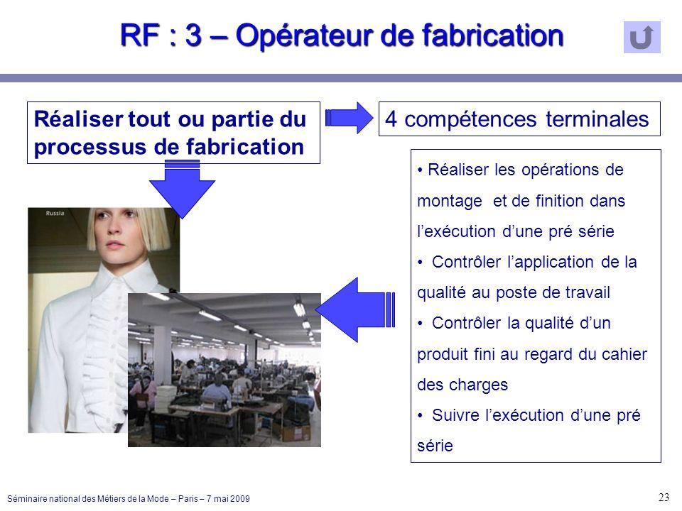 RF : 3 – Opérateur de fabrication