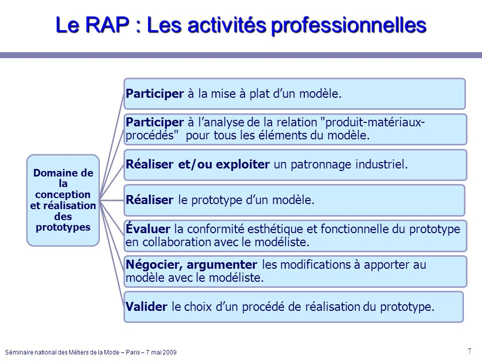 Le RAP : Les activités professionnelles