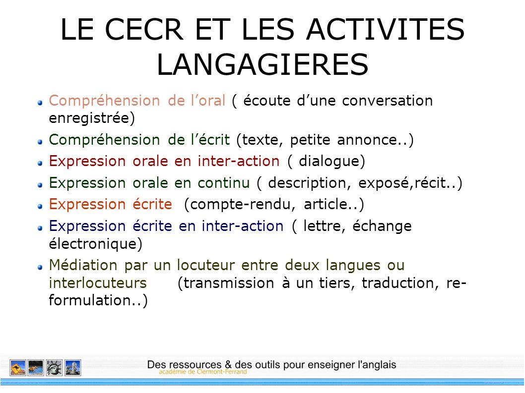 LE CECR ET LES ACTIVITES LANGAGIERES