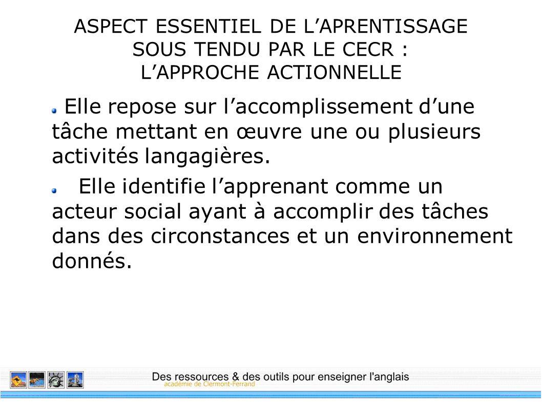 ASPECT ESSENTIEL DE L'APRENTISSAGE SOUS TENDU PAR LE CECR : L'APPROCHE ACTIONNELLE