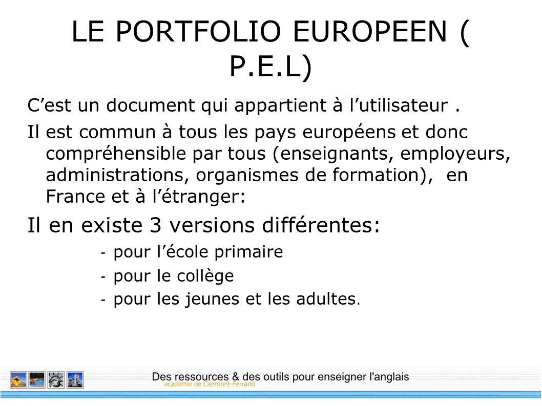 LE PORTFOLIO EUROPEEN ( P.E.L)