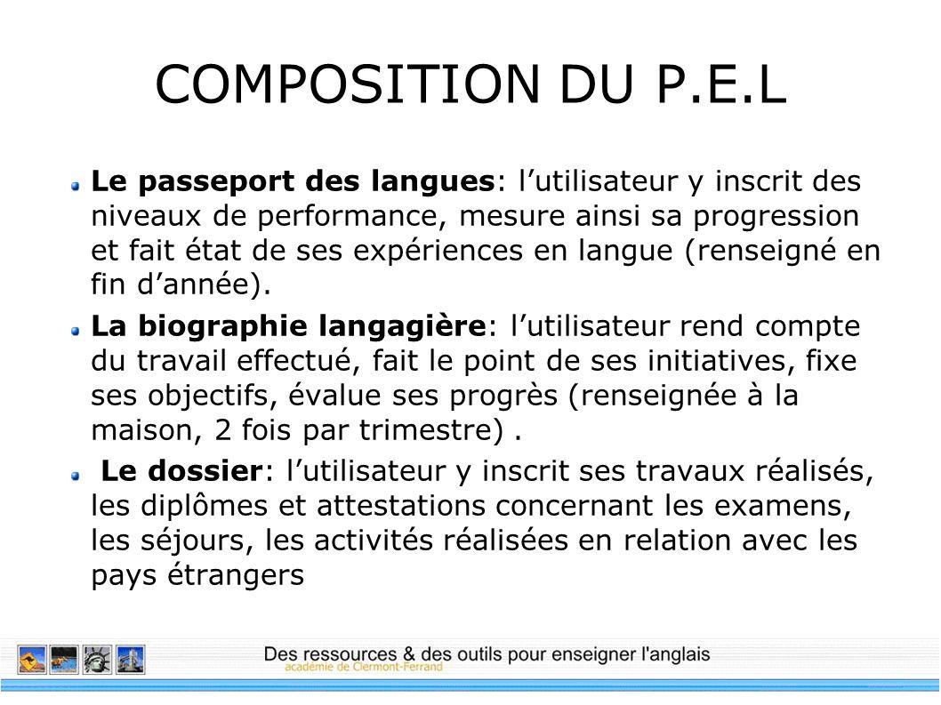 COMPOSITION DU P.E.L