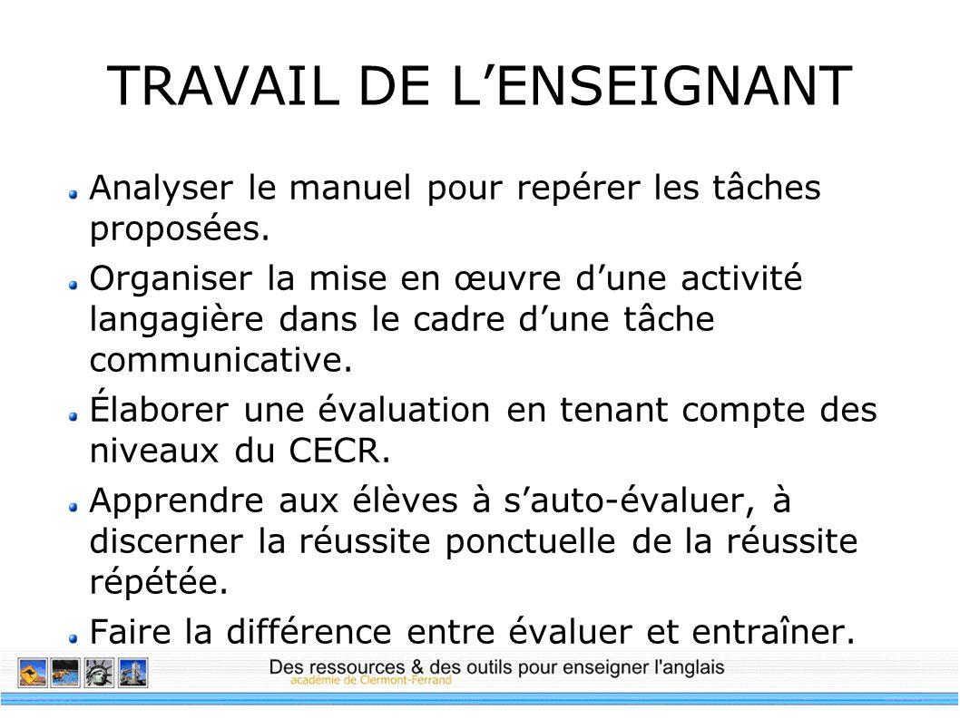 TRAVAIL DE L'ENSEIGNANT