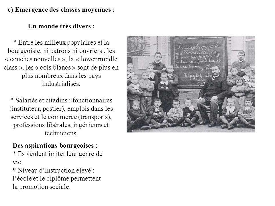 c) Emergence des classes moyennes :