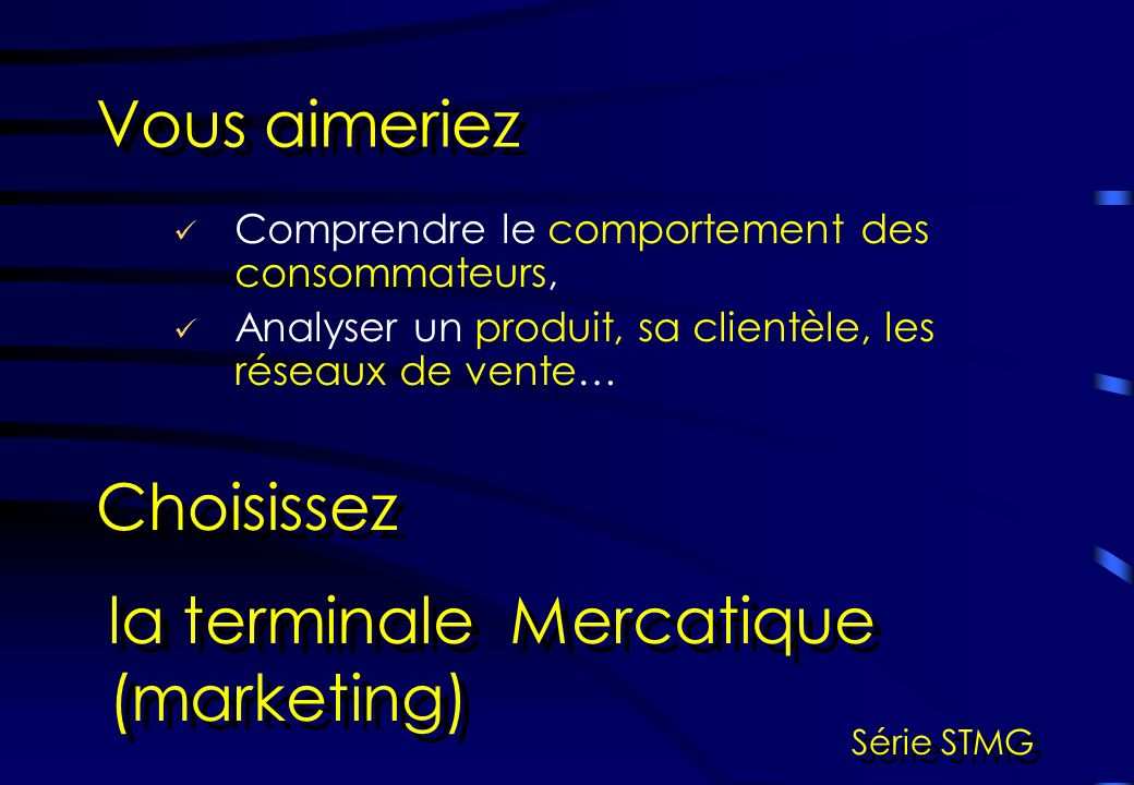 la terminale Mercatique (marketing)
