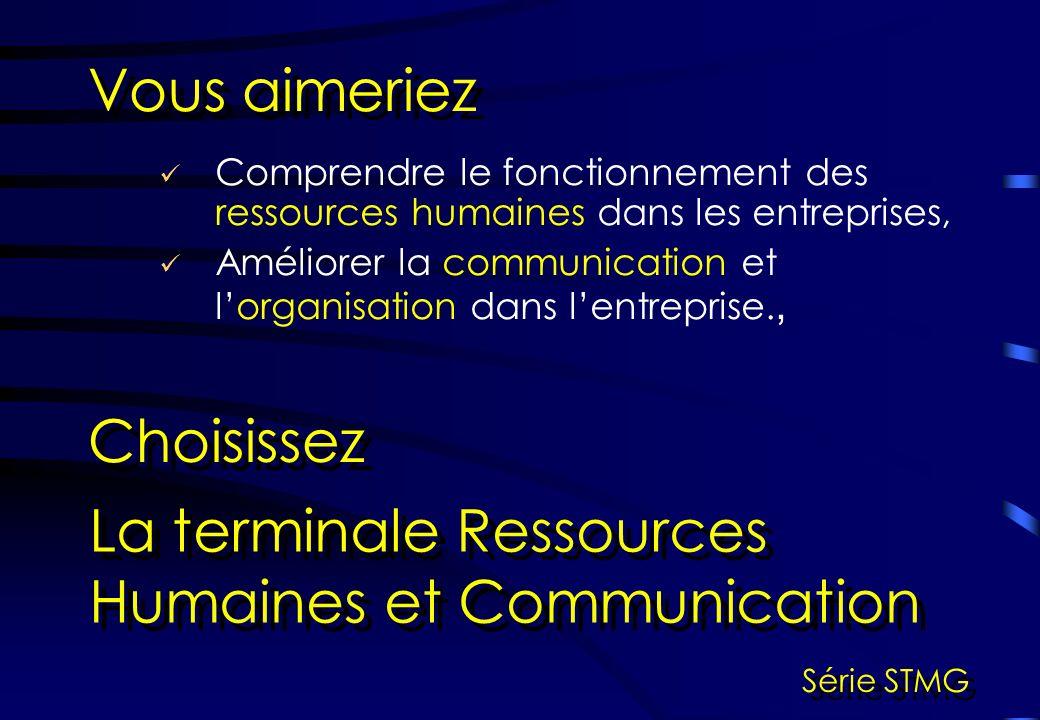 La terminale Ressources Humaines et Communication