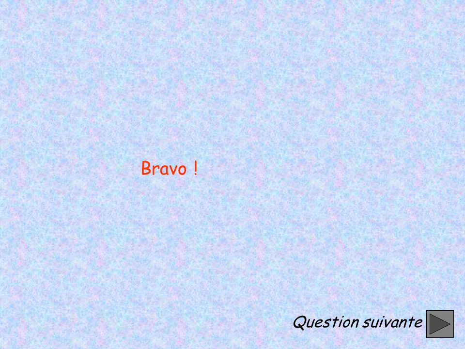 Bravo ! Question suivante