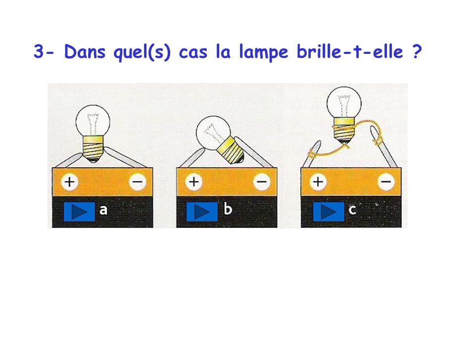 3- Dans quel(s) cas la lampe brille-t-elle