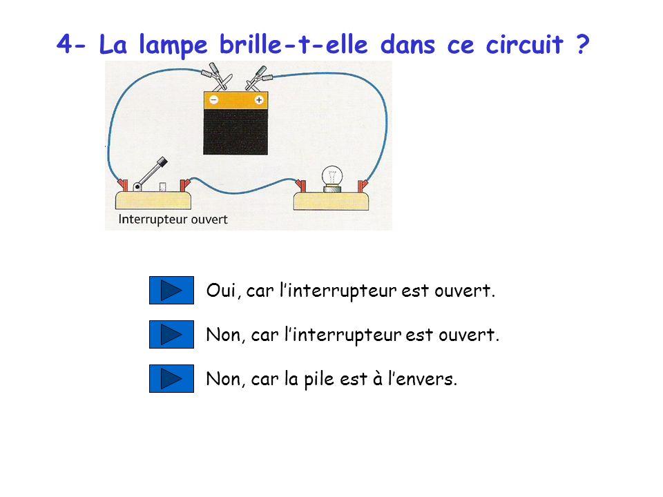 4- La lampe brille-t-elle dans ce circuit