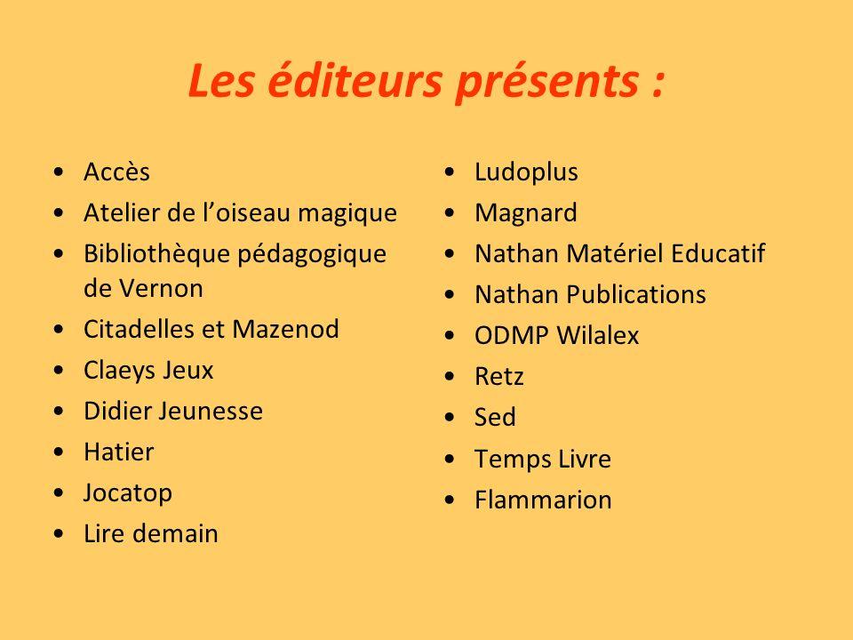 Les éditeurs présents :