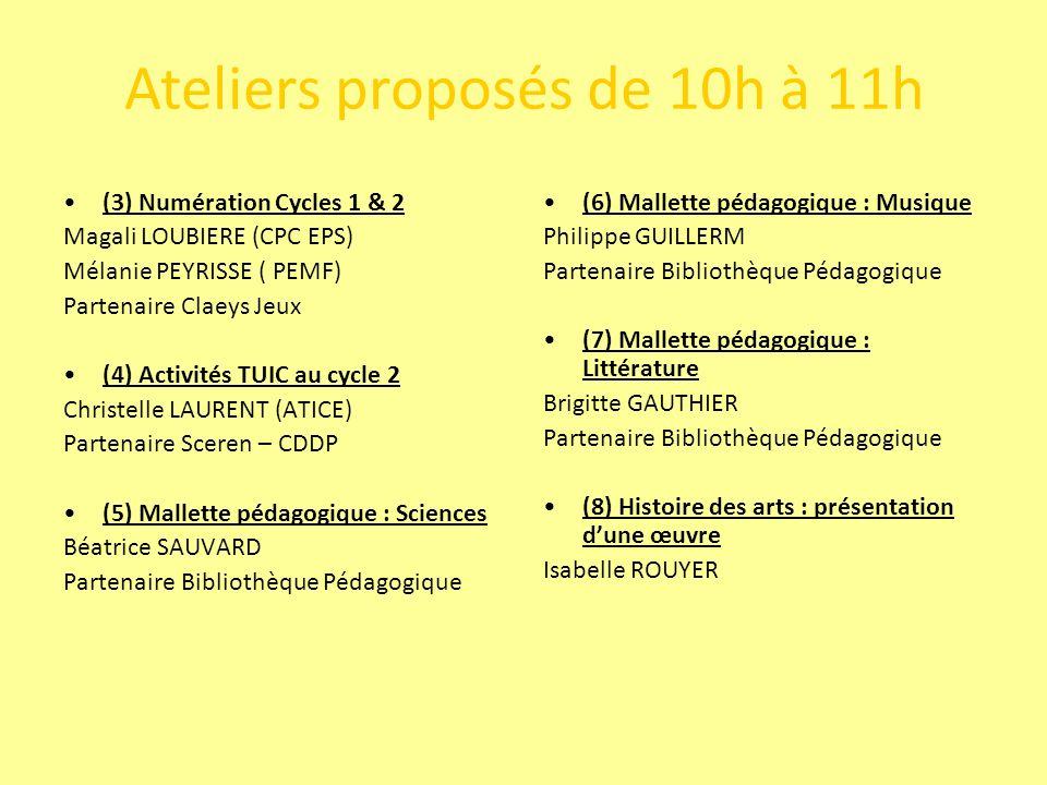Ateliers proposés de 10h à 11h