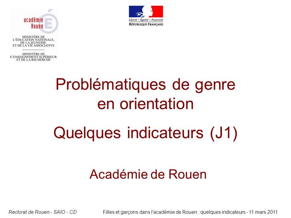 Problématiques de genre en orientation Quelques indicateurs (J1)