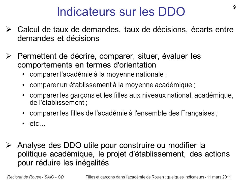 Indicateurs sur les DDO