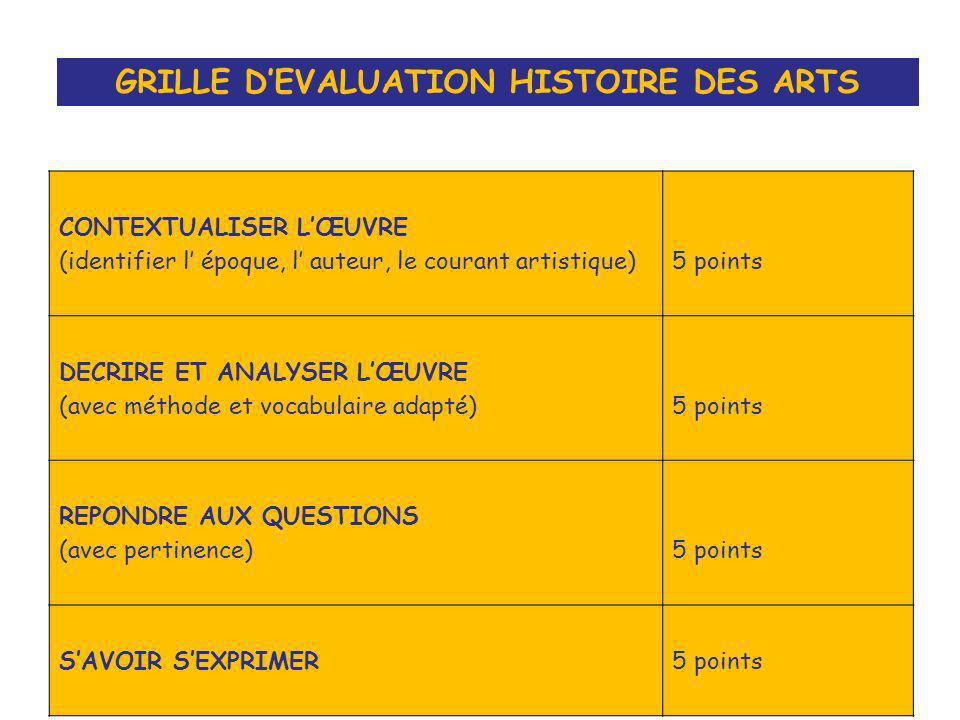 GRILLE D'EVALUATION HISTOIRE DES ARTS