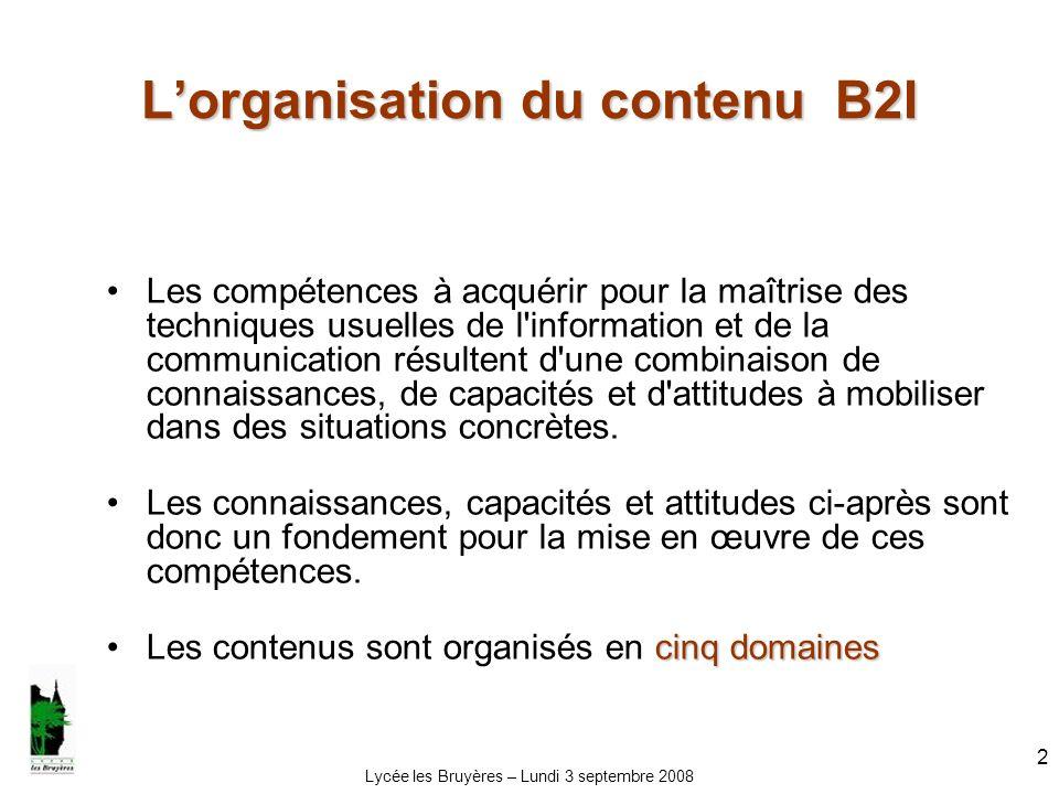 L'organisation du contenu B2I