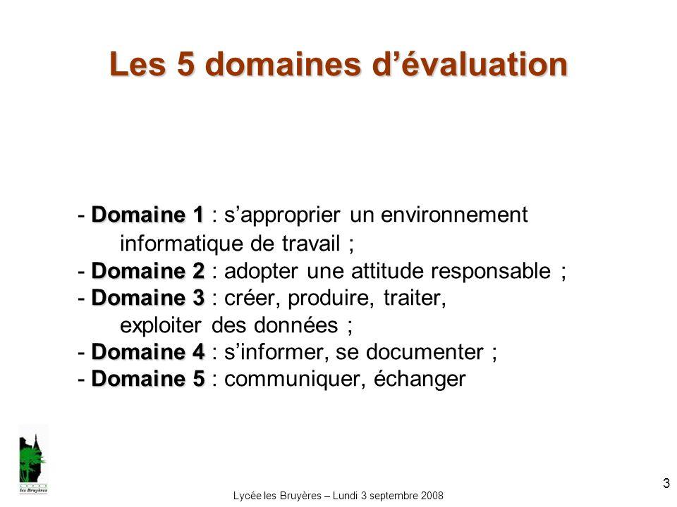 Les 5 domaines d'évaluation