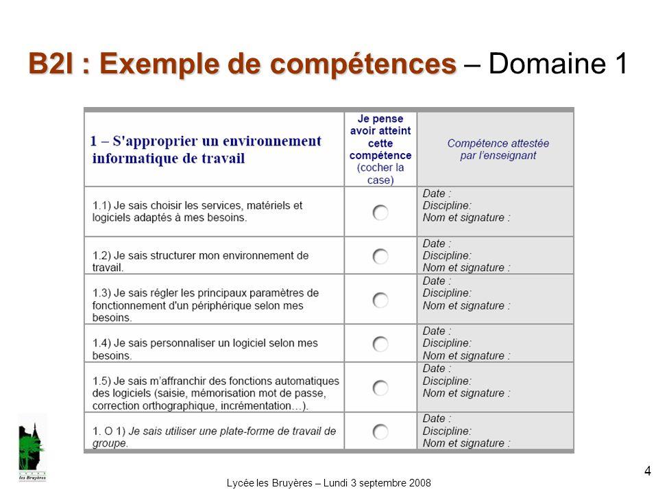 B2I : Exemple de compétences – Domaine 1