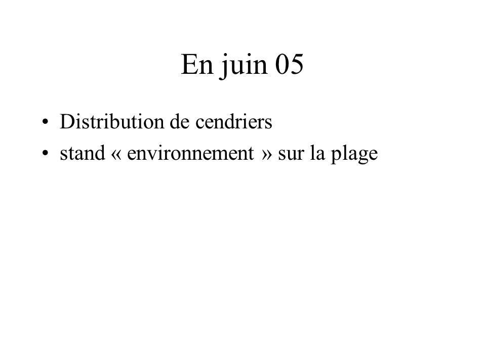 En juin 05 Distribution de cendriers