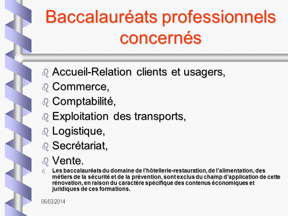 Baccalauréats professionnels concernés