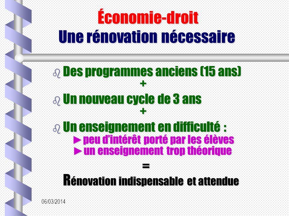 Économie-droit Une rénovation nécessaire