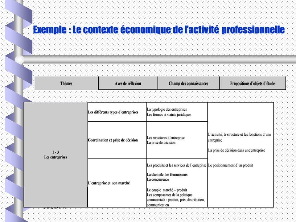 Exemple : Le contexte économique de l'activité professionnelle
