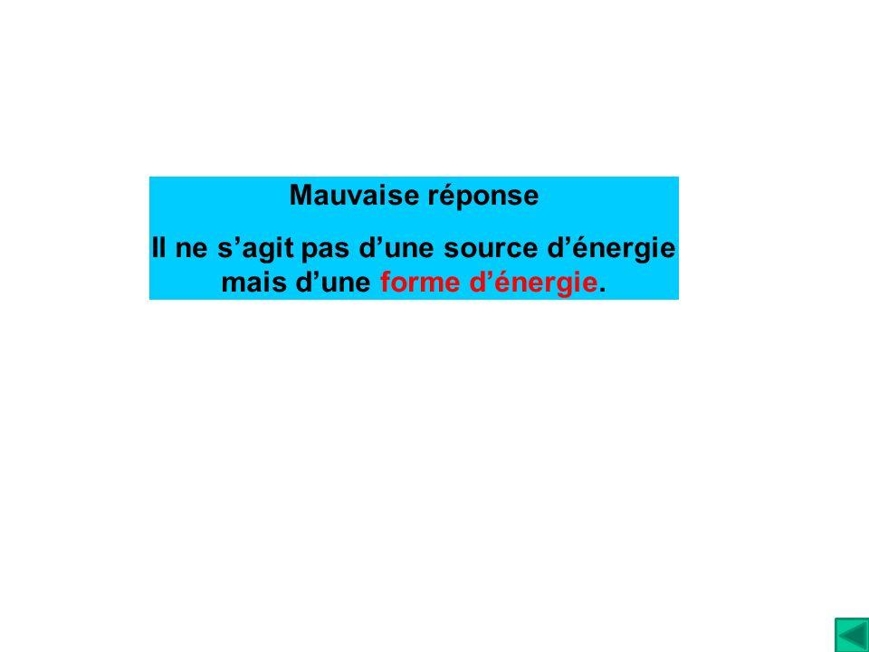 Il ne s'agit pas d'une source d'énergie mais d'une forme d'énergie.