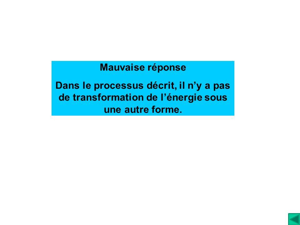 Mauvaise réponse Dans le processus décrit, il n'y a pas de transformation de l'énergie sous une autre forme.