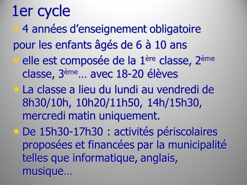 1er cycle 4 années d'enseignement obligatoire