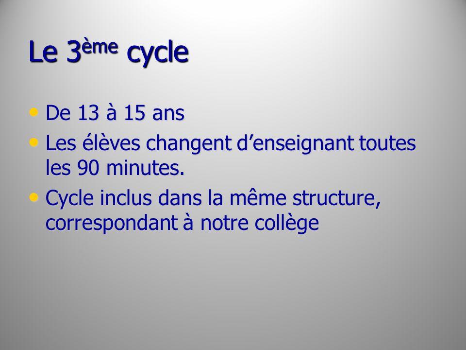 Le 3ème cycle De 13 à 15 ans. Les élèves changent d'enseignant toutes les 90 minutes.