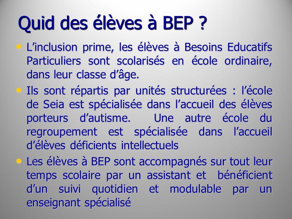 Quid des élèves à BEP L'inclusion prime, les élèves à Besoins Educatifs Particuliers sont scolarisés en école ordinaire, dans leur classe d'âge.