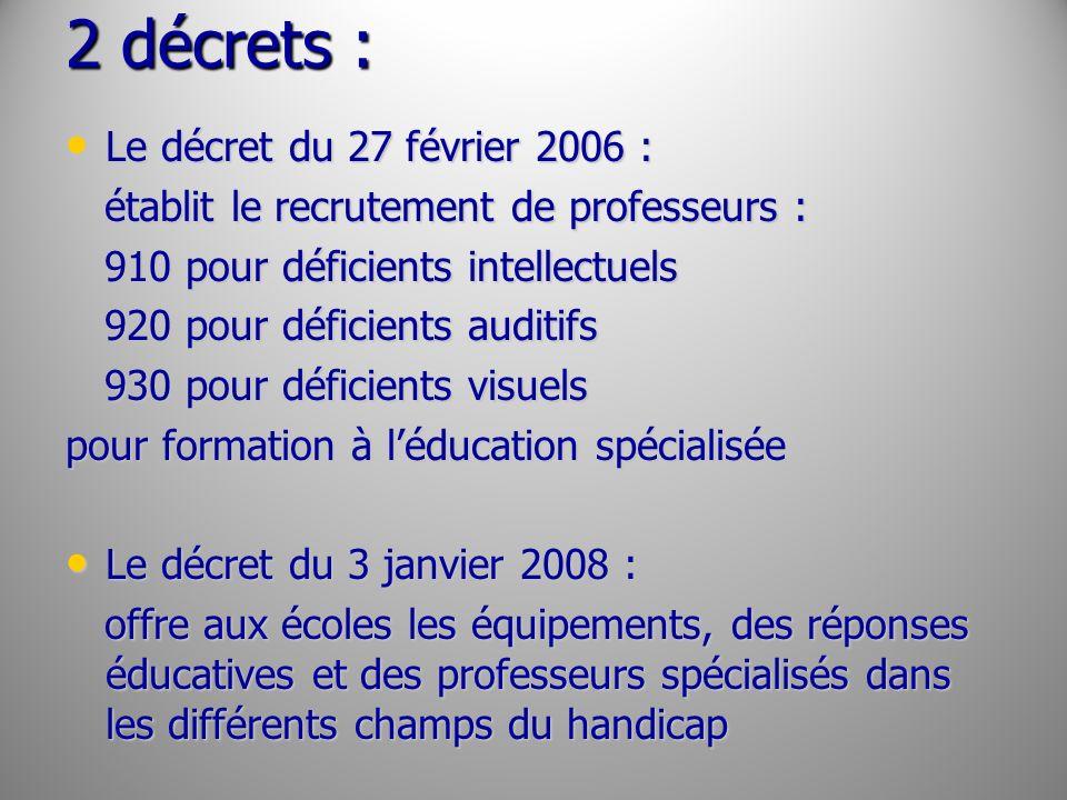 2 décrets : Le décret du 27 février 2006 :