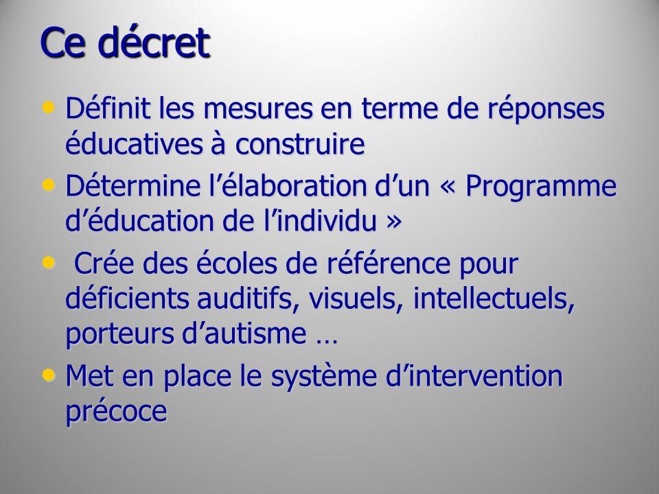 Ce décret Définit les mesures en terme de réponses éducatives à construire. Détermine l'élaboration d'un « Programme d'éducation de l'individu »