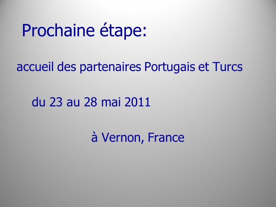 Prochaine étape: accueil des partenaires Portugais et Turcs