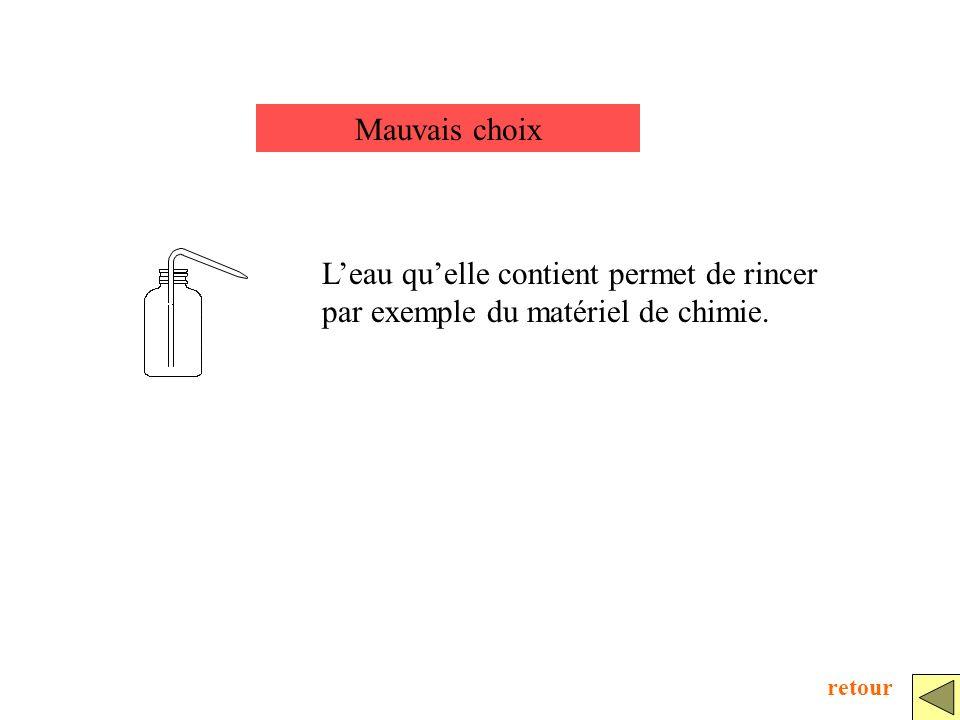 Mauvais choix L'eau qu'elle contient permet de rincer par exemple du matériel de chimie. retour