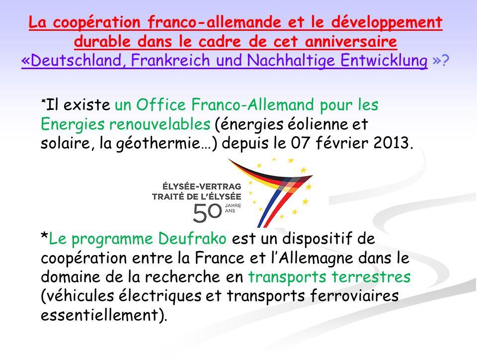 «Deutschland, Frankreich und Nachhaltige Entwicklung »