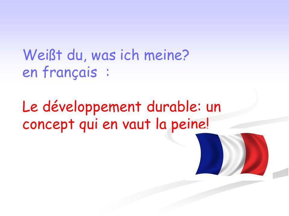 Weißt du, was ich meine en français : Le développement durable: un concept qui en vaut la peine!