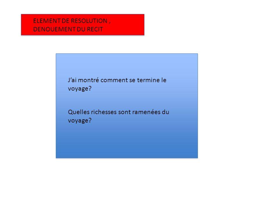 ELEMENT DE RESOLUTION , DENOUEMENT DU RECIT