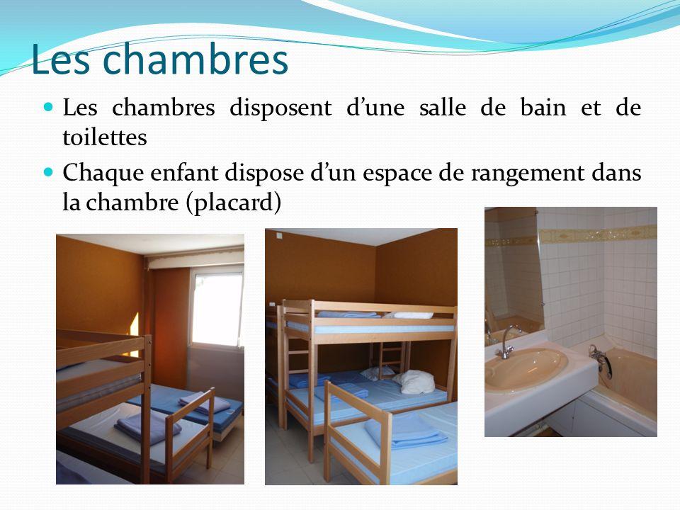 Les chambres Les chambres disposent d'une salle de bain et de toilettes.