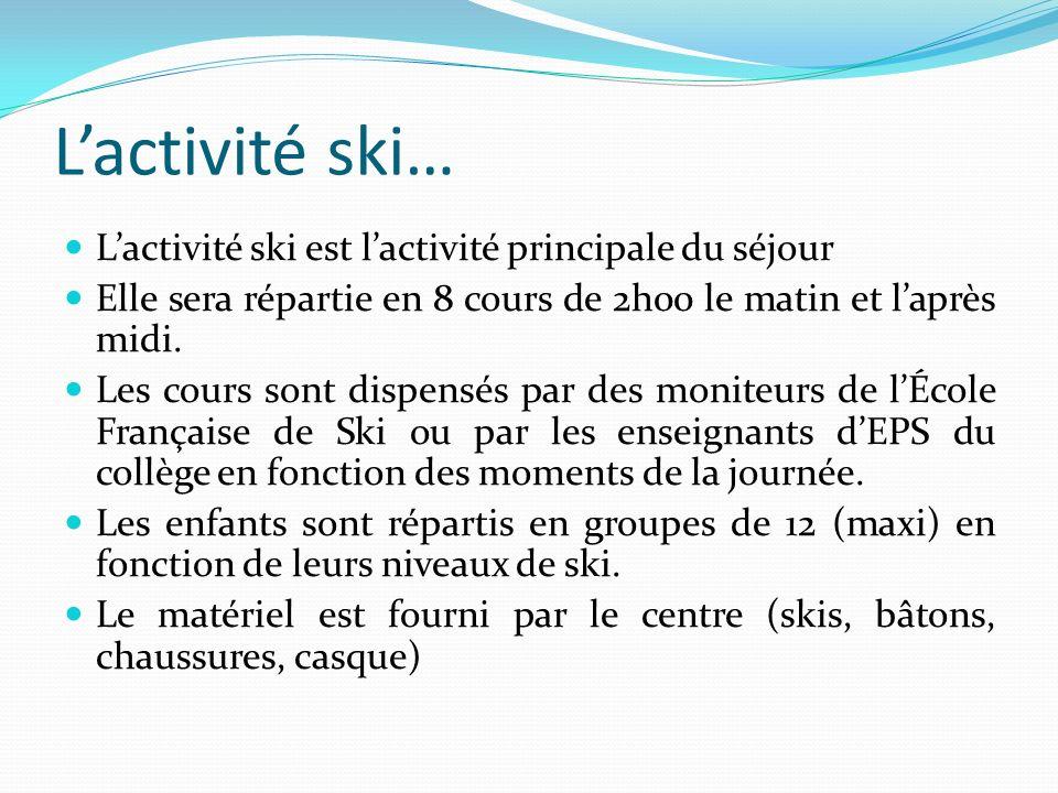 L'activité ski… L'activité ski est l'activité principale du séjour