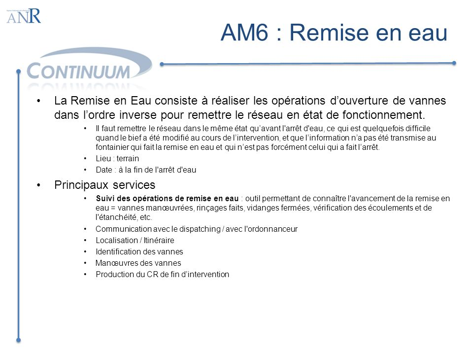 AM6 : Remise en eau