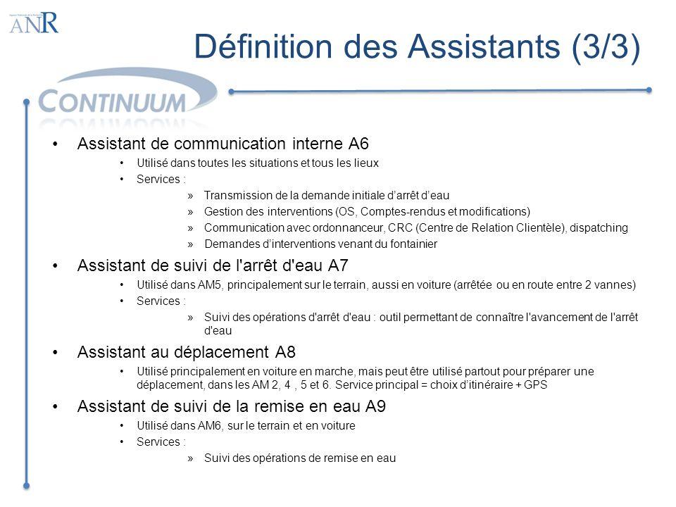 Définition des Assistants (3/3)