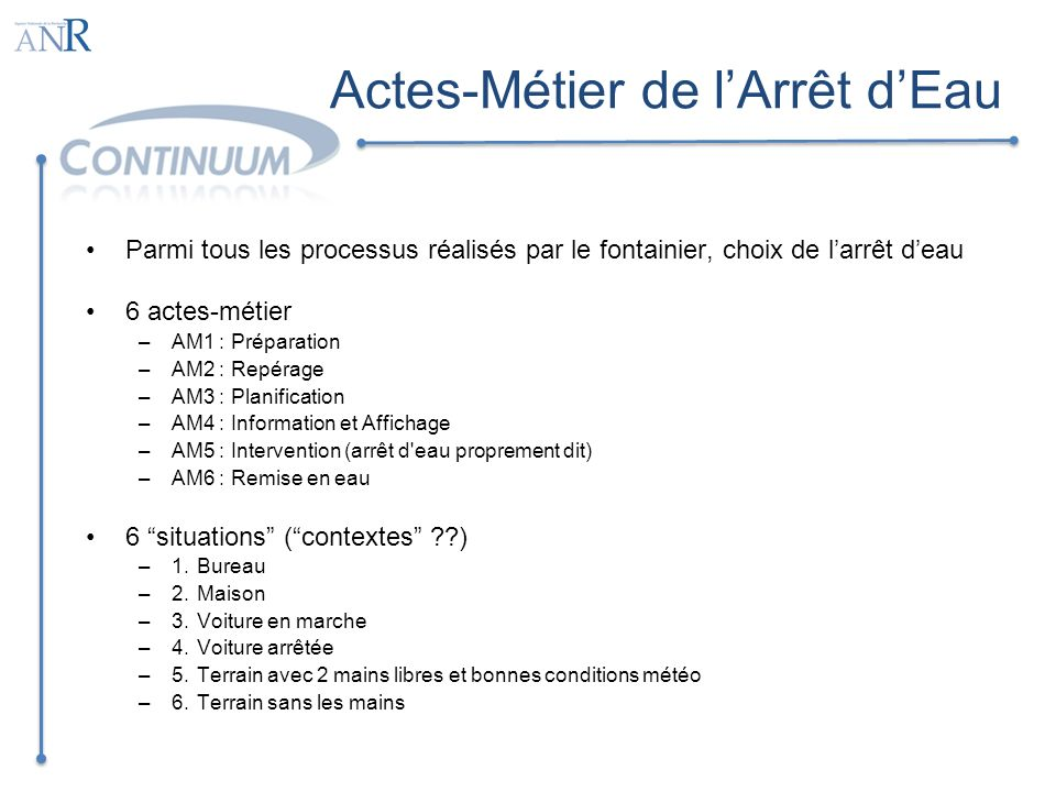 Actes-Métier de l'Arrêt d'Eau