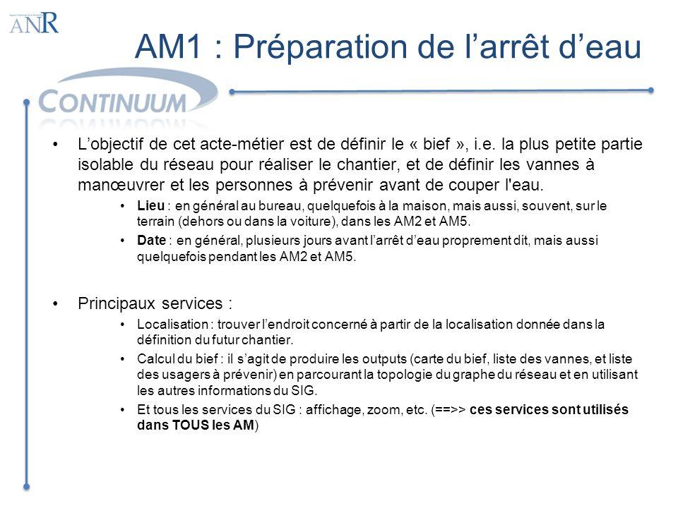 AM1 : Préparation de l'arrêt d'eau