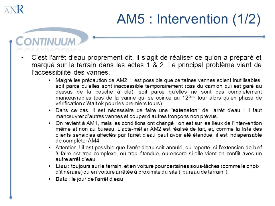 AM5 : Intervention (1/2)