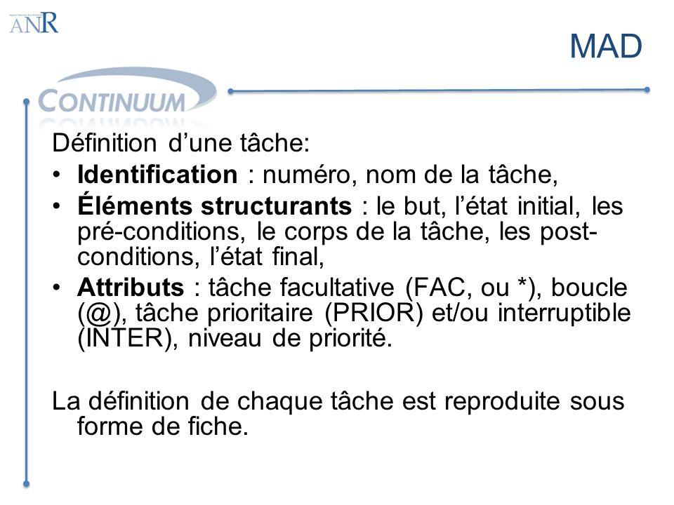 MAD Définition d'une tâche: Identification : numéro, nom de la tâche,
