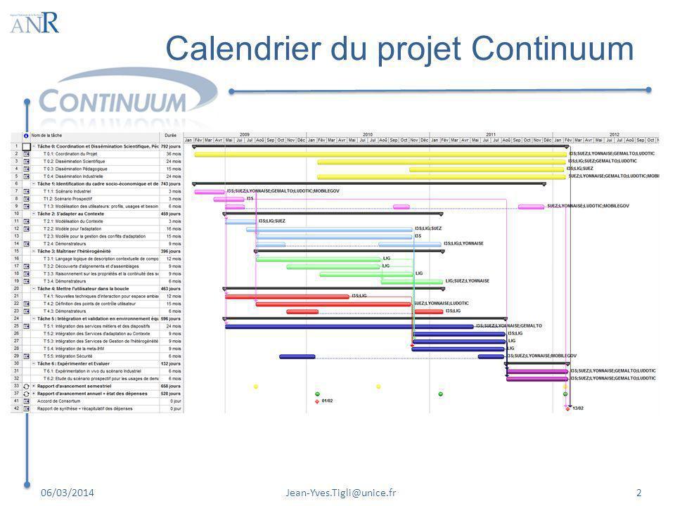 Calendrier du projet Continuum