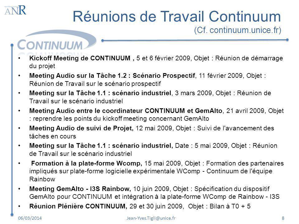 Réunions de Travail Continuum (Cf. continuum.unice.fr)